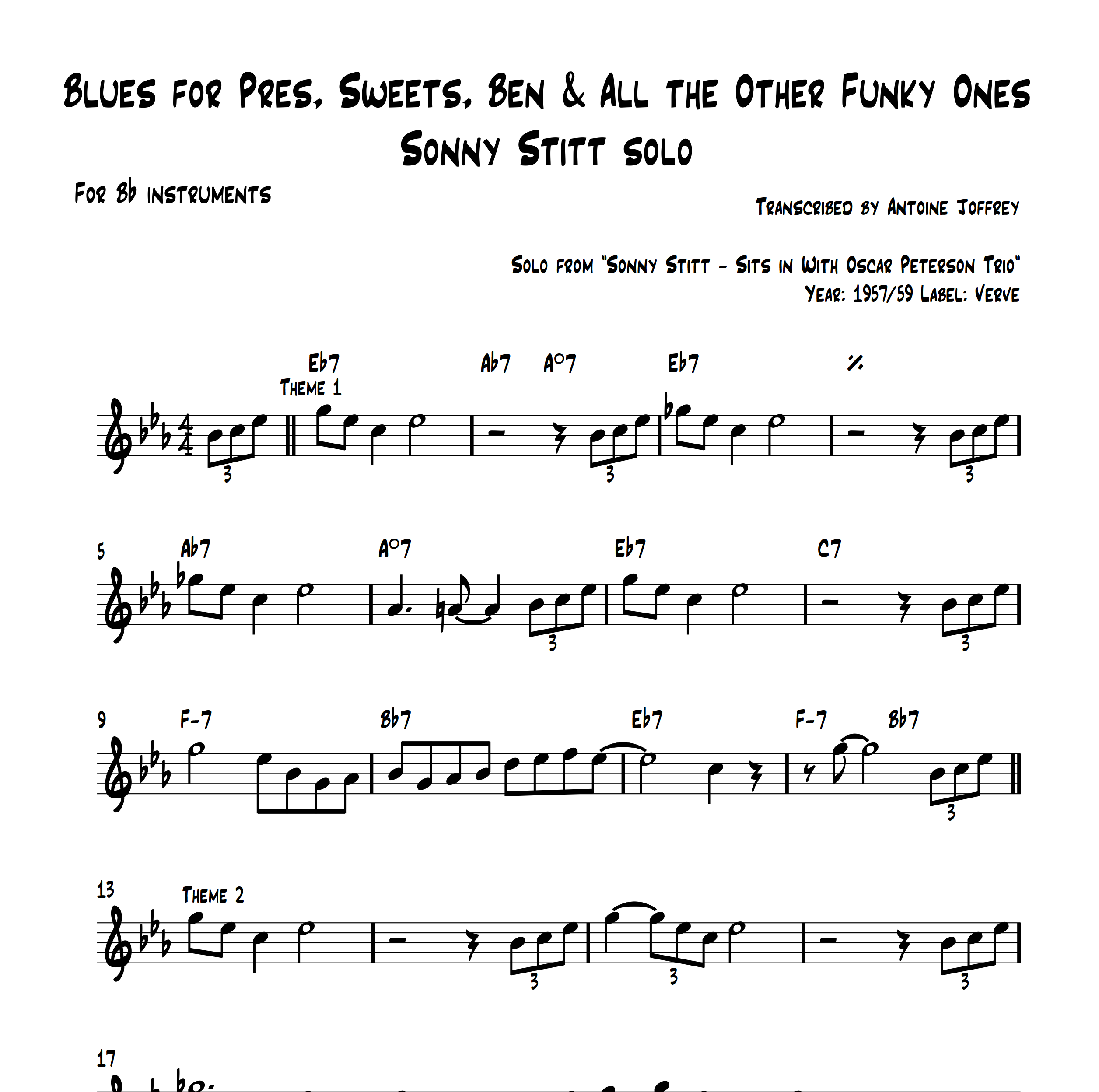 Blues for Pres, Sweets, Ben & All the Other Funky Ones - Sonny Stitt solo
